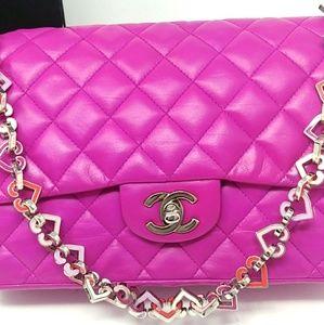 Rare CHANEL Fucshia Pink Valentine Heart Flap
